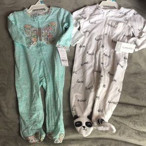 Two 6 months zipper footed pjs